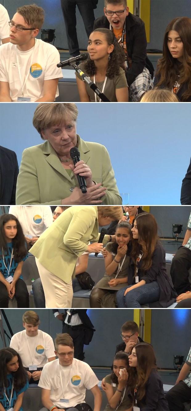 Sequência mostra a garota Reema perguntando o motivo da demora nas decisões sobre pedido de asilo. Em seguida, Merkel responde e vê que a garota está chorando na plateia. A chanceler vai consolá-la e elogia a forma como ela apresentou o problema. Depois q (Foto: Reprodução/Youtube/Bundesregierung)