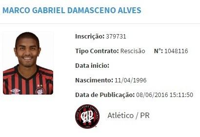 Marco Damasceno Atlético-PR (Foto: Reprodução)