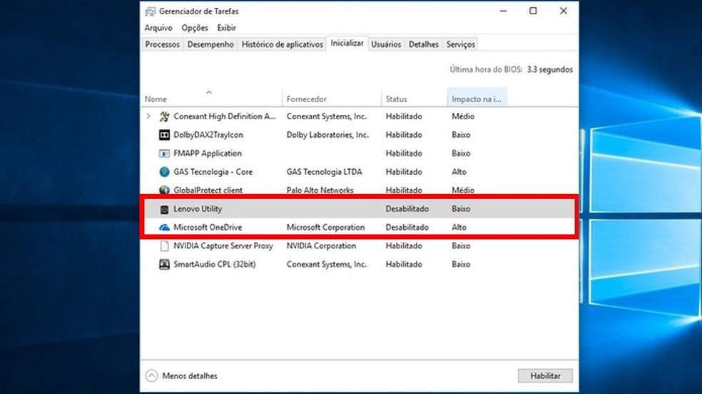 Programas retirados da inicialização do Windows (Foto: Reprodução/Raquel Freire)