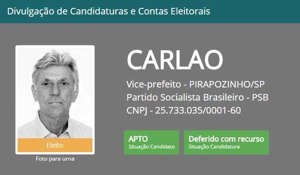 Vice-prefeito eleito de Pirapozinho foi cassado nesta sexta-feira (2) (Foto: Reprodução/TSE)