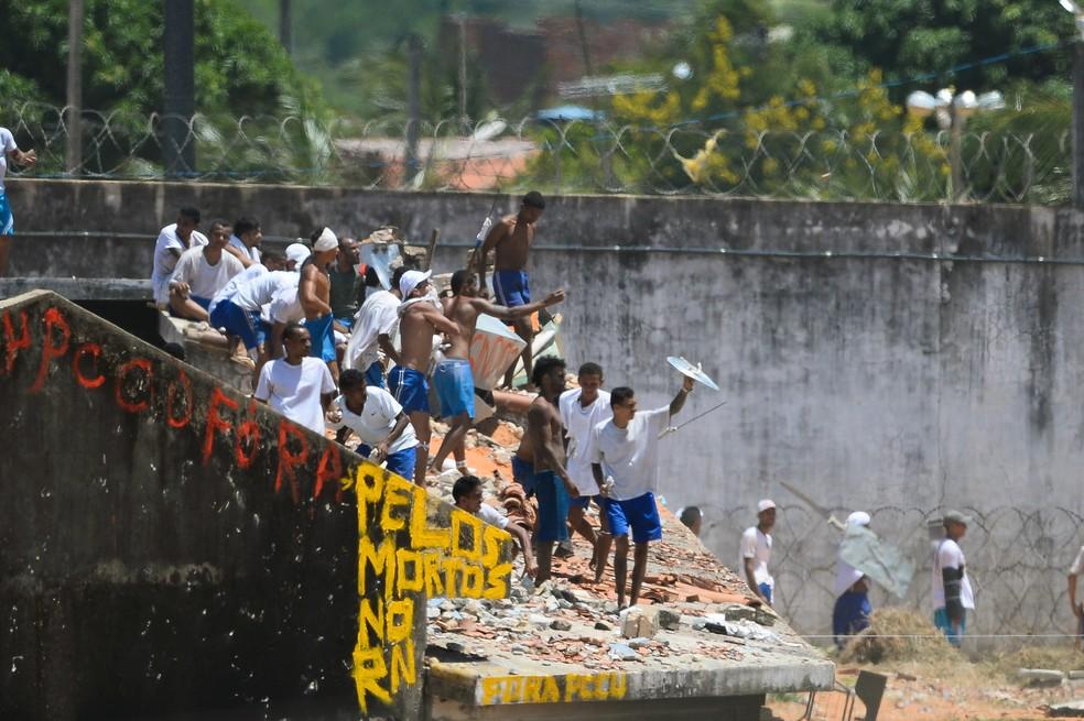 Pavilhões de Alcaçuz foram destruídos e 26 presos foram mortos durante rebeliões ocorridas em janeiro (Foto: Andressa Anholete/AFP)