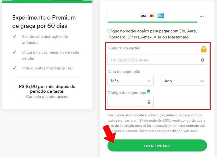 Informe os dados bancários para assinar plano Premium do Spotify (Foto: Reprodução/Rodrigo Fernandes)