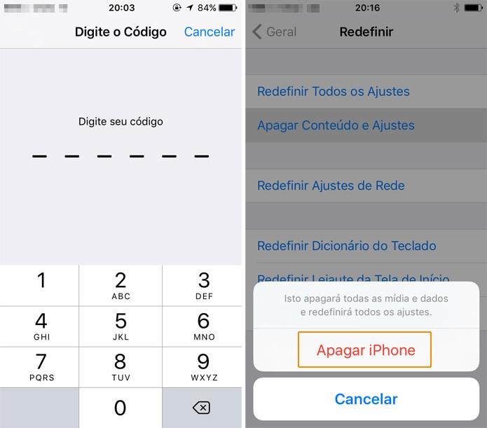 Digite o código de desbloqueio, a senha da Apple ID e espere alguns minutos (Foto: Reprodução)
