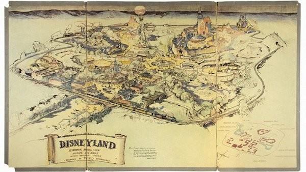 O mapa produzido por Walt Disney do parque que viria a ser a Disneylândia (Foto: Divulgação)