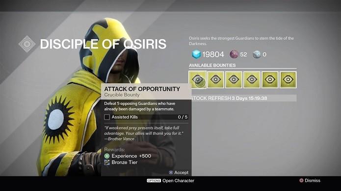 É preciso completar contratos para fazer Osiris (Foto: Reprodução/Thiago Barros)