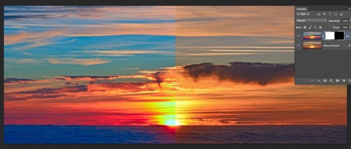 Antes e depois do efeito aplicado (Foto: Reprodução/André Sugai) (Foto: Antes e depois do efeito aplicado (Foto: Reprodução/André Sugai))