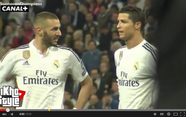 Cristiano Ronaldo fala com Benzema
