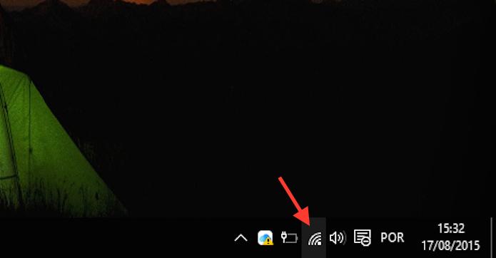 Acessando as opções do ícone de rede do Windows 10 (Foto: Reprodução/Marvin Costa)
