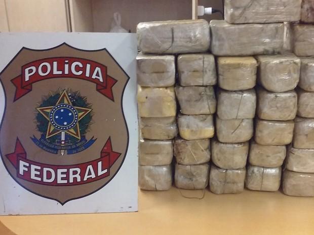 Cocaína foi apreendida durante abordagem da Polícia Rodoviária Federal (Foto: Divulgação/Polícia Federal)