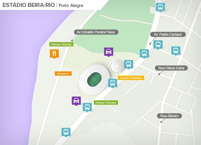 Mapa de acesso às ruas do Beira-Rio (Foto: Google Maps / Infografia GloboEsporte.com)