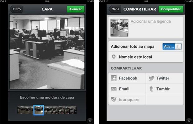 Telas de teste do G1 com nova função de vídeo do Instagram instalada no iPad mini. (Foto: Gustavo Petró/G1)