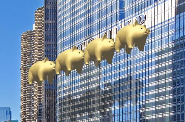 Porcos voadores bloqueiam Trump Tower de Chicago (Foto: Divulgação)
