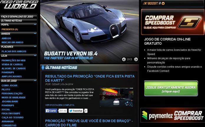 Banner para comprar Speed Boost está no canto superior direito da tela (Foto: Reprodução)
