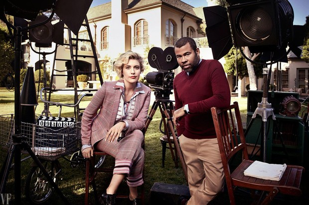 Greta Gerwig e Jordan Peele (Foto: Art Streiber/reprodução/Vanity Fair)