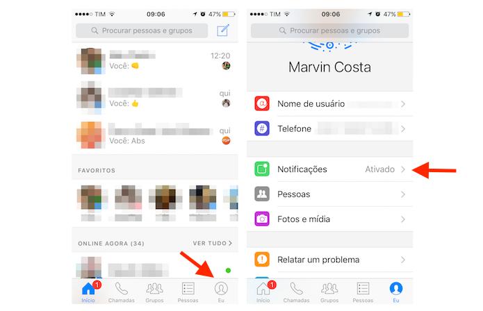 Acessando as opções para notificações do Facebook Messenger no iPhone (Foto: Reprodução/Marvin Costa)