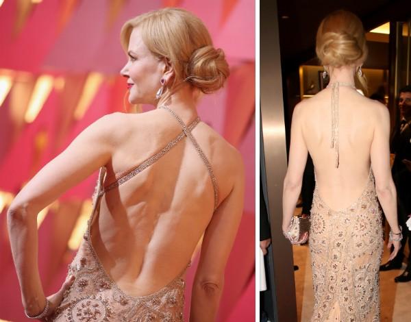 O vestido da atriz Nicole Kidman quando ela chegou no Oscar e em sua saída do evento (Foto: Getty Images)