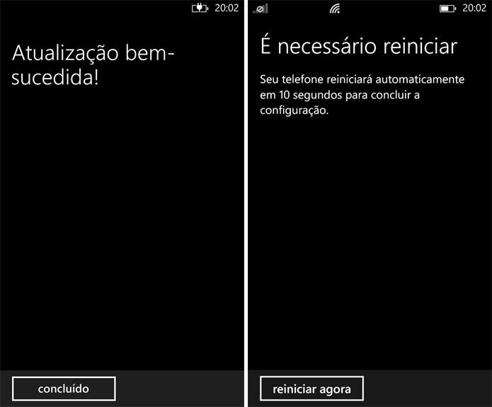 Após terminar a atualização, Windows Phone terá que ser reiniciado mais uma vez (Foto: Reprodução: Elson Souza)