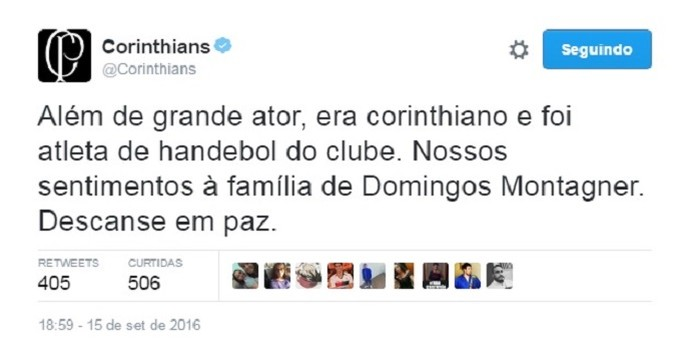 Corinthians Domingos Montagner (Foto: Reprodução Twitter)