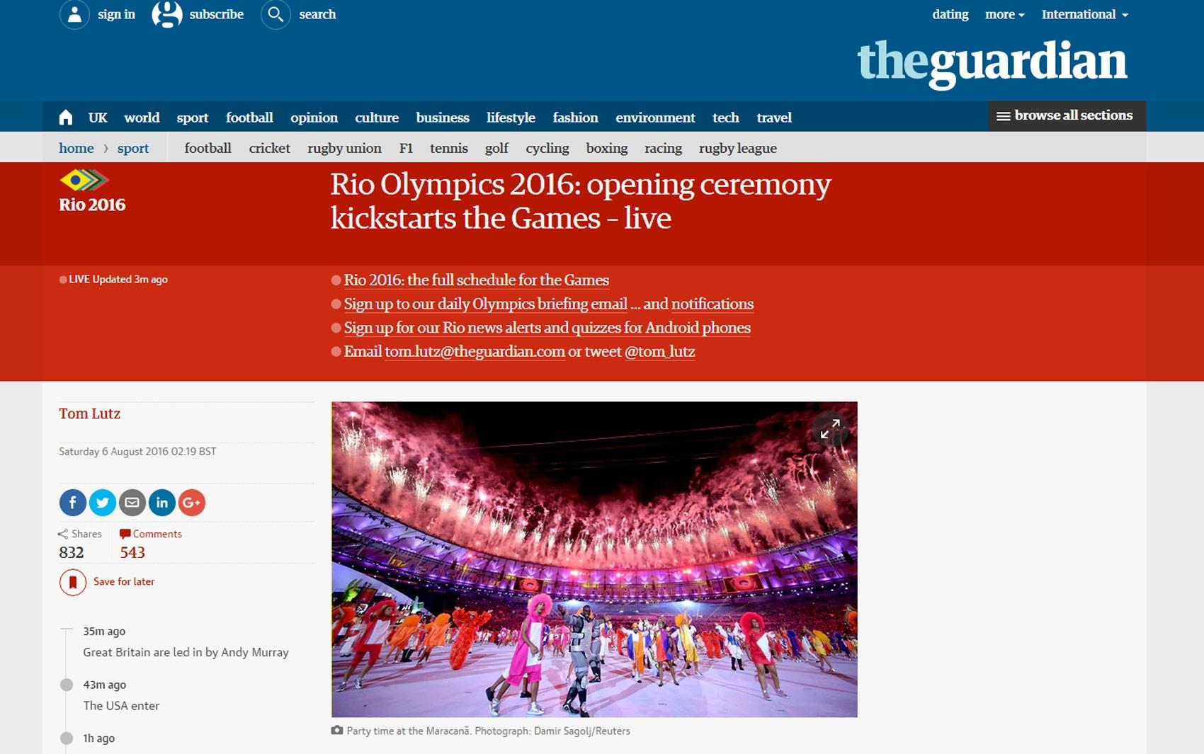 'The Guardian' teve tempo real sobre a cerimônia de abertura da Olimpíada do Rio