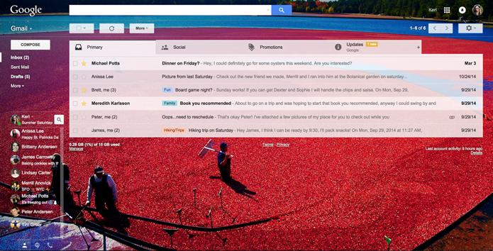 Gmail atual permite até a aplicação de temas, além da integração com outros serviços (Foto: Divulgação/Google)
