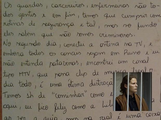 Trecho de carta enviada por Ana Paula para a família (Foto: Reprodução)