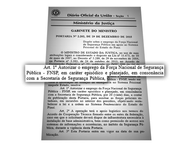 Ministério da Justiça publicou portaria autorizando o trabalho da Força Nacional  (Foto: Divulgação )