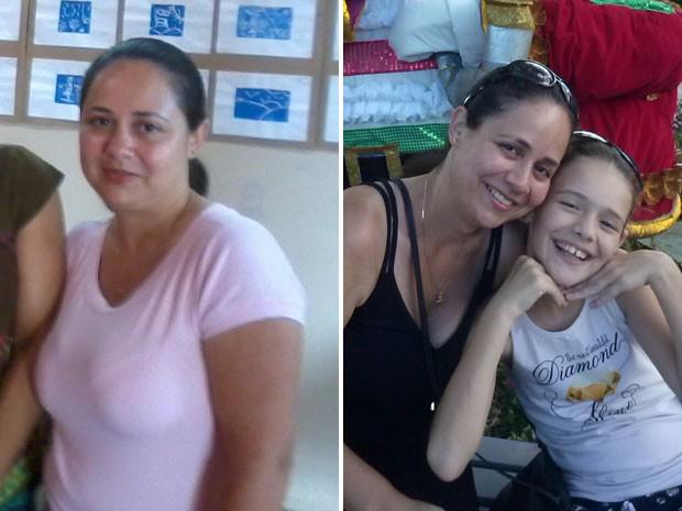 Sheile perdeu 21 kg entre 2012 e 2014; na segunda foto, ela está com a filha, que a ajudou no processo (Foto: Arquivo pessoal)
