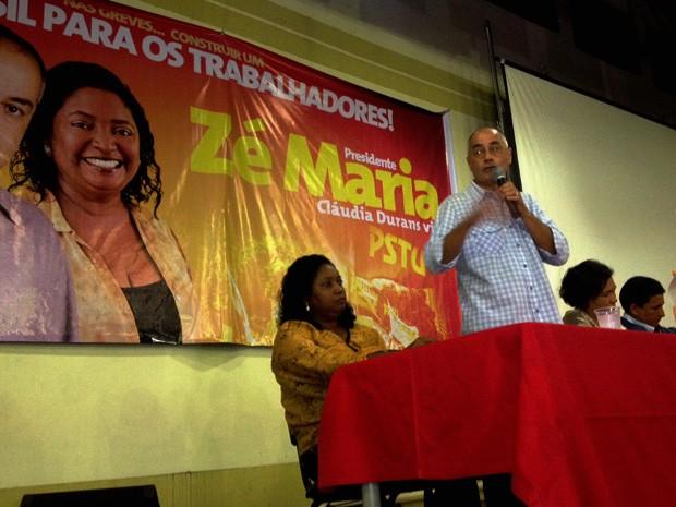 Zé Maria é anunciado como candidato à Presidência da República em convenção do PSTU em São Paulo (Foto: Marcelo Mora/G1)