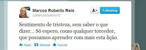 Marcos lamenta rebaixamento no Twitter (Foto: reprodução)