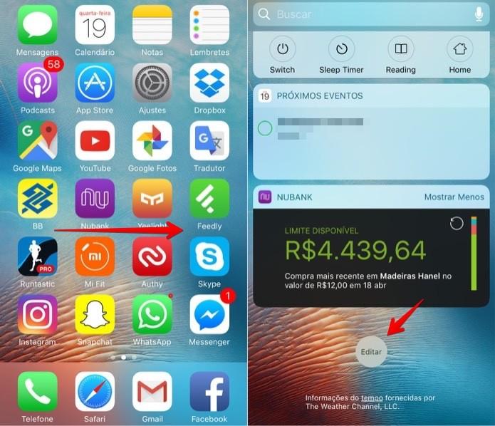 Editando os widgets do iPhone (Foto: Reprodução/Helito Bijora)