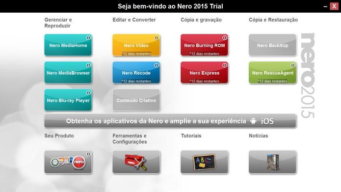 Interface do Nero mostra as mais diversas funcionalidades (Foto: Reprodução/Juliana Pixinine)