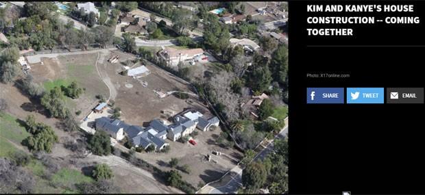 Aérea do terreno construído po Kim e Kanye (Foto: TMZ/Reprodução)