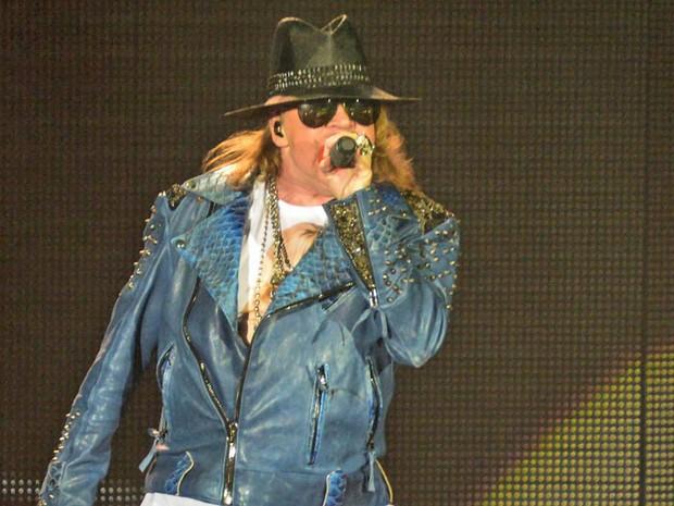 O Guns N' Roses apresentou na HSBC Arena, no Rio, na noite desta quinta-feira (20), o 1º show da passagem brasileira da 'South American Tour 2014'. Da formação original da banda, além de Axl Rose, apenas o tecladista Dizzy Reed. (Foto: Márcio Moraes/Agência O Dia/Estadão Conteúdo)
