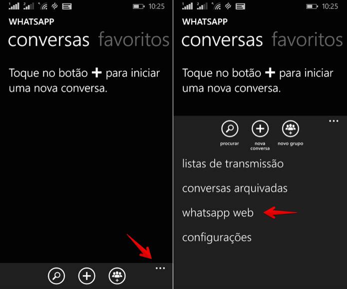 Abra as configurações do WhatsApp Web no celular (Foto: Reprodução/Helito Bijora)
