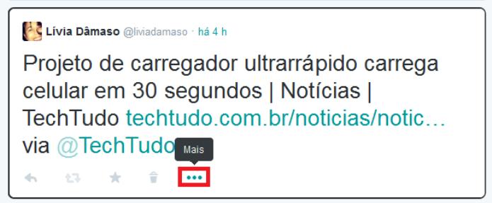 Fixando o tuíte no topo do novo perfil do Twitter (Foto: Reprodução/Lívia Dâmaso)