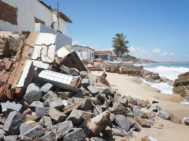 Paisagem de Baía da Traição está mudando por conta do avanço do mar na Paraíba (Foto: Inaê Teles/G1)