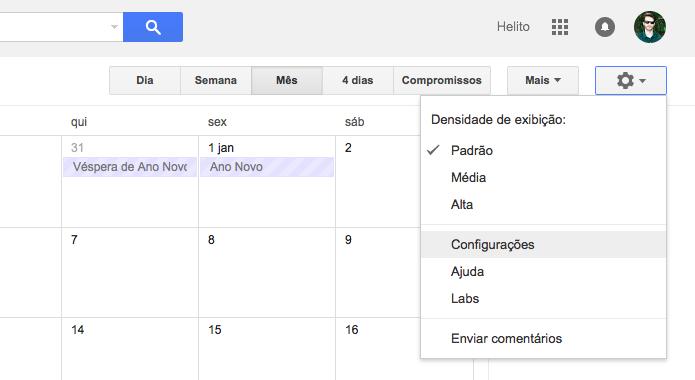 Acesse as configurações do Google Agenda (Foto: Reprodução/Helito Bijora)
