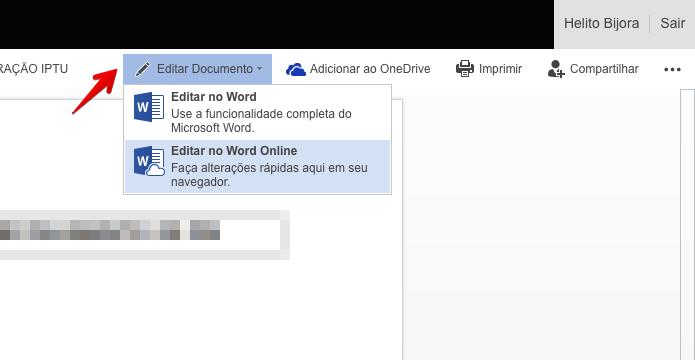 Editando documento armazenado no OneDrive (Foto: Reprodução/Helito Bijora)