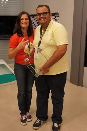 A grande vencedora Cristina Dias e o segundo colocado Amauri Aquino (Foto: Alysson Bernardo/TV Cabo Branco)