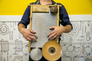 Detalhe do wasboard, instrumento típico de New Orleans (Foto: Isabella Pinheiro/ Ghsow)