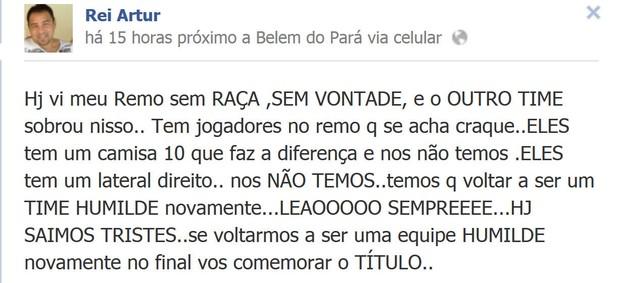 Artur Oliveira usou a rede social para falar do clássico Re-Pa (Foto: Reprodução/ Facebook)