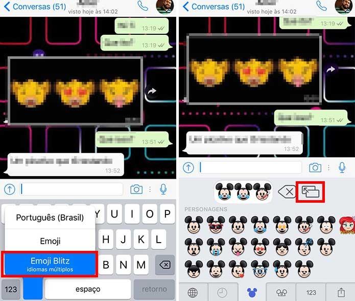 Abra o teclado do Emoji Blitz e mande emojis pelo WhatsApp (Foto: Reprodução/Paulo Alves)