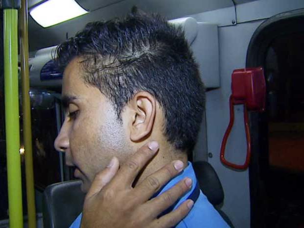 O cobrador Fabiano Freire que foi agredido por assaltantes em Hortolândia (Foto: Reprodução EPTV)