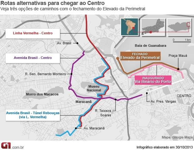 Mapa Via Binário. (Foto: Arte G1)