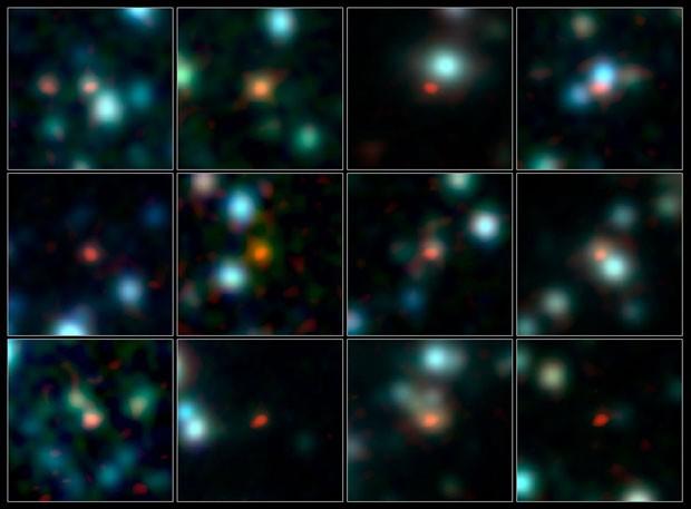Imagem de mais de cem galáxias obtida pelo Alma (Foto: ALMA (ESO/NAOJ/NRAO), J. Hodge et al., A. Weiss et al., NASA Spitzer Science Center)