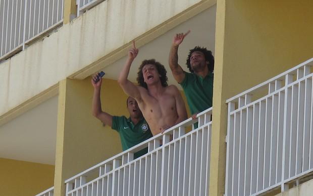 david luiz marcelo lucas fred entrevista hotel seleção brasileira (Foto: Leandro Canônico)
