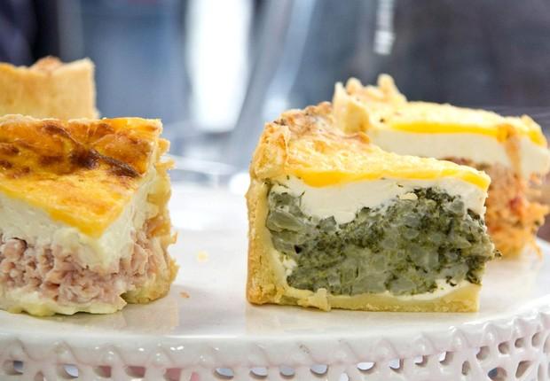Torta de brócolis do Torta no Quintal: uma das opções vegetarianas mais pedidas, a versão leva massa crocante e recheio de cream cheese e brócolis refogado (Foto: Divulgação)