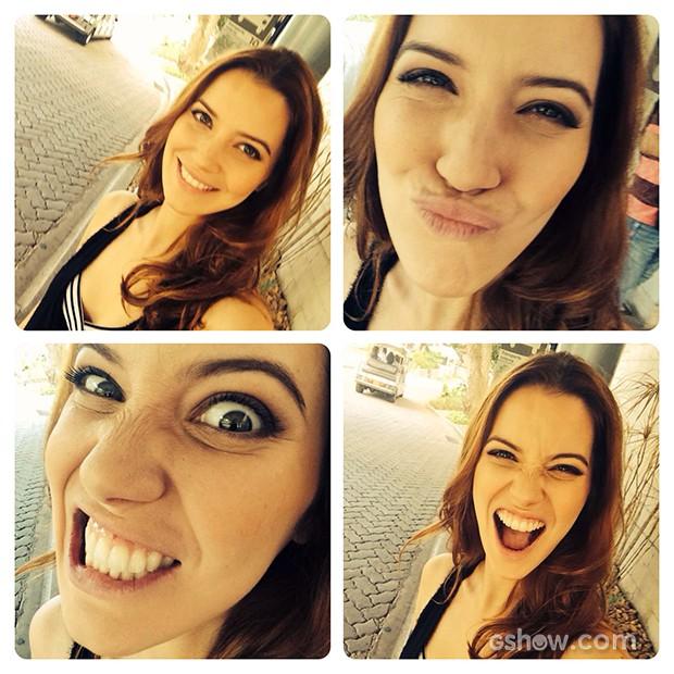 Nathalia Dill faz selfie e comemora 28 anos de idade (Foto: Vídeo Show / TV Globo)