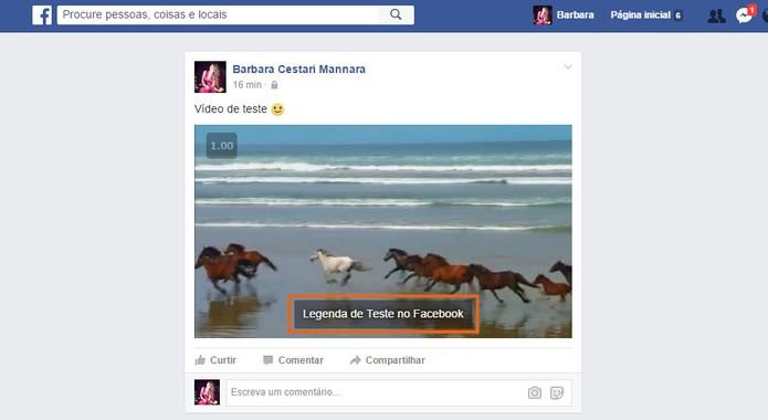 Veja como fica o vídeo com sua legenda personalizada no Facebook (Foto: Reprodução/Barbara Mannara)