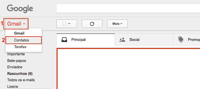 Acessando a área de contatos dentro do Gmail (Foto: Reprodução/Edivaldo Brito)